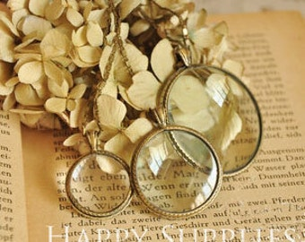 1pc 23mm/32mm/42mm Round Magnifying Glass Locket Pendants / Charms (AN05)
