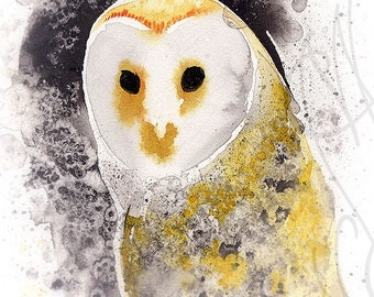 "Martinefa's Original watercolor and Ink  ""Barn Owl"""