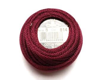 DMC 814 Dark Garnet Perle Cotton Thread Size 8