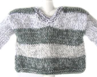 KSS Dark Grey/White Handmade Pullover Baby Sweater (12 Months) SW-356