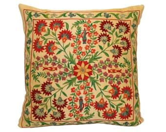 Handmade Suzani Silk Pillow Cover SP37 (EMP903), Suzani Pillow, Uzbek Suzani, Suzani Throw, Suzani, Decorative pillows, Accent pillows