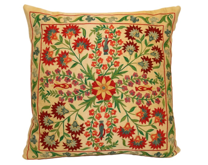 Handmade Suzani Silk Pillow Cover SP37 (EMP903), Suzani Pillow, Uzbek Suzani, Suzani Throw, Suzani, Decorative pillows, Accent pillows