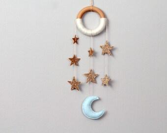 Gold Star Nursery Dreamer. Glitter Stars. Cascading Star Wall Mobile. Moon and Star Nursery Decor. Handmade by Ordinary Mommy