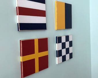 4 Series Nautical Flag Art - Custom Nautical Decor - Maritime Flags - Sailing Art - Naval - Beachy