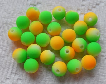 25  Bright Neon Golden Yellow & Neon Lime Green Acrylic Round Beads  8mm
