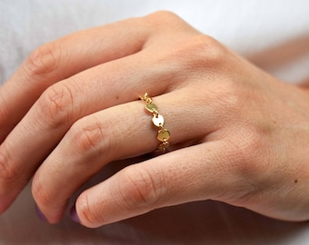 Gold Chain Ring | free shipping, coin chain ring, 14k gold ring, dainty ring, 14k gold filled ring, delicate ring, stacking ring, chain ring