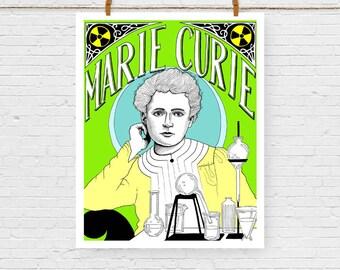 Marie Curie Portrait Print, Fine Art Print, Feminist Art, Feminism,, Giclee Art Print