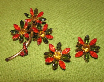 Vintage Orange and Green Flower Brooch and Clip On Earrings Set, Gold Plated, Rhinestones, costume jewelry
