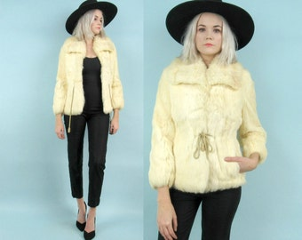 60s Blonde Rabbit Fur Coat, Size Small, White, Yellow, Extra Small, Petite, 70s, Winter Jacket, Warm, Satin Lining, New Years, Holiday