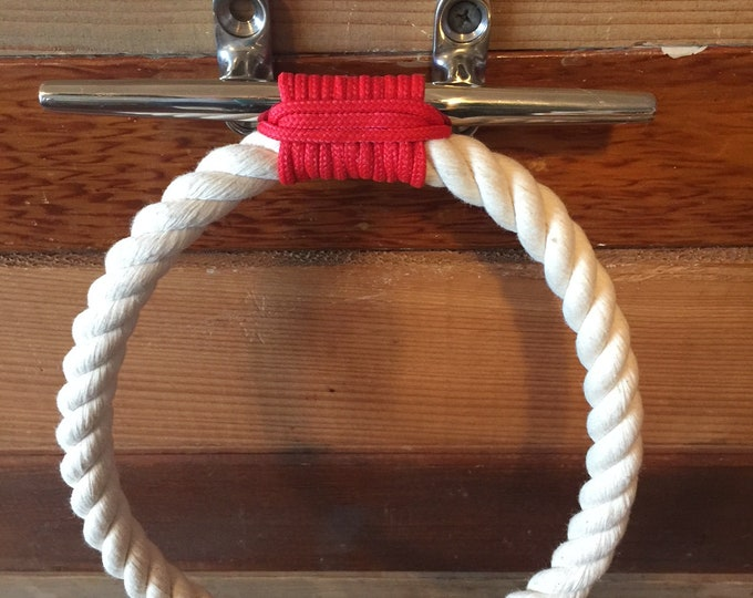 Rope Towel Ring With Stainless Steel Cleat Nautical Decor Bathroom Towel Holder Hook Fixture Beach Cotton Rope Red Accent