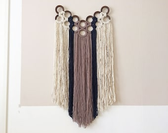 macrame wall hanging with yarn wrapped wooden curtain rings | textile wall art | contemporary fiber art | boho decor | modern tapestry