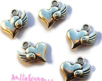 Set of 5 charms jewelry scrapbooking silver winged hearts *.