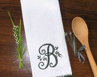 Beau Monogrammed Kitchen Towel, Monogrammed Dish Towel Holly Green Crocheted  Edge Towel