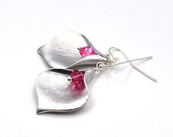 Silver Calla Lily Earrings, Gift for Her, Gift for Women, Wedding Jewelry, Bridesmaid Earrings, Dangle Earrings, Pink Crystal Earrings