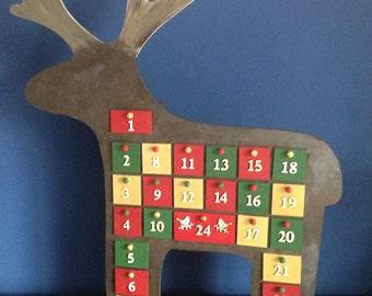 Hand painted reindeer Advent calendar