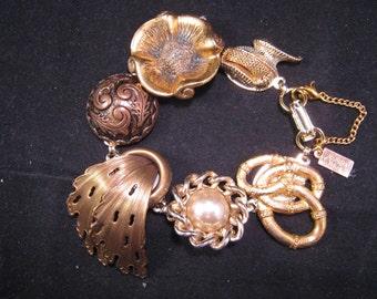Reclaimed Vintage Bracelet, Wedding, bridal, Vintage Earring Bracelet, Bridesmaid Gift, Upcycled, Under 40, Jennifer Jones,OOAK, Golden Veil