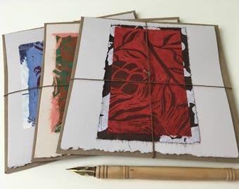 Hemlock Tree Cards, hand-printed cards, original art cards, block-printed cards, folded card with kraft envelope, botanical prints