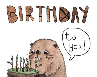 Beaver birthday card. Happy birthday card for children & wildlife and animal lovers. Beaver card for nature lover. Birthday card for kids.
