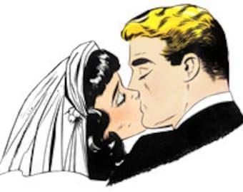 Just Married Kiss - Bride Groom Couple Wedding - Digital Image - 1950s Vintage Art Illustration