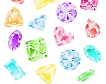 Jewel Clipart, Digital Gems, Watercolor Gems, Jewel Clip Art