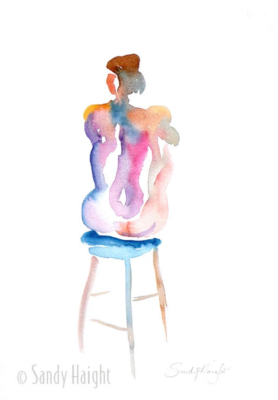 Original Watercolor Painting, 25% OFF SALE! life, art, home decor, figure, woman, nude, seated, back, unframed, painting, model, color, 2D