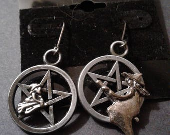Witch on a Pentacle Earrings