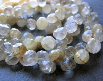 Golden Rutilated Quartz beads half strand faceted onion shaped briolettes 7mm X 7mm