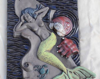 Mermaid and Walrus Art Tile - Debra Bacianga
