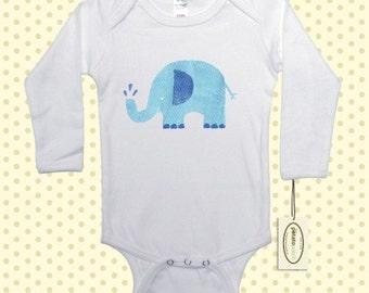 Blue Elephant Long Sleeve One-Piece Bodysuit or Shirt