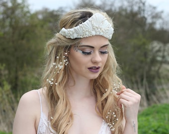 White mermaid shell crown,  mermaid tiara, sea crown