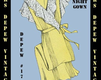 Vintage Sewing Pattern 1930's French Wrap Night Gown in Any Size- PLUS Size Included- Depew 171 -INSTANT DOWNLOAD-