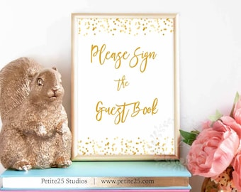 Please sign the guestbook sign, baby shower, gold foil dots, printable sign, party sign, gold shower sign, gold party sign