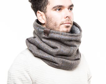 Wool tube scarf, chunky scarf mens, extra warm scarf men, Snock® high quality and thick ribbed wool