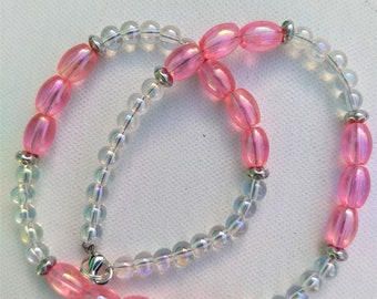 Pink Aurora Borealis Beaded Necklace