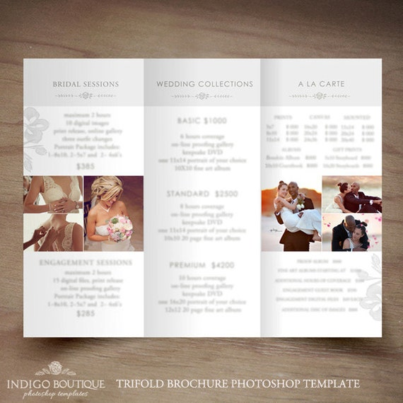 Wedding Photography Trifold Brochure Template Client Welcome - Price list brochure template