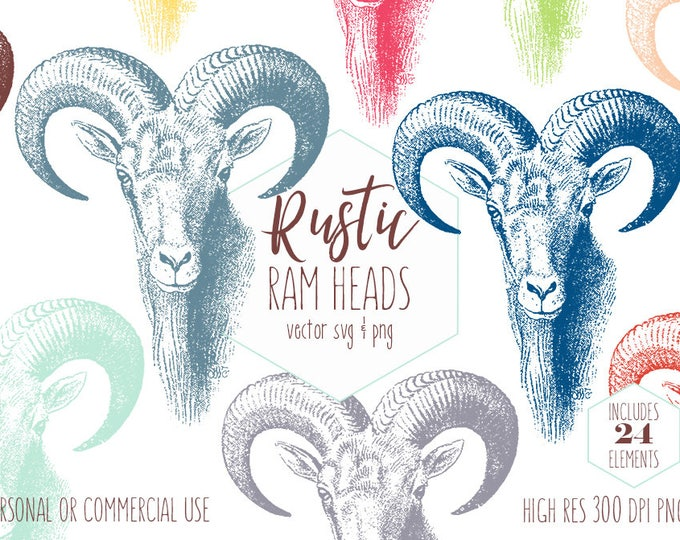 RAM HEAD CLIPART for Commercial Use Rustic Clip Art Ram Horns Antlers Goat Head Mountain Animal Images Rainbow Color Vector Digital Graphics