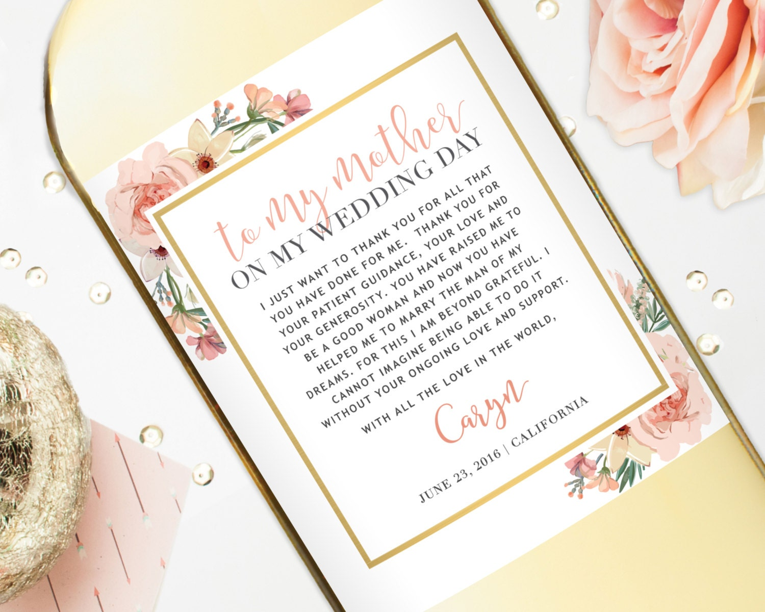 Mother Of The Bride Gift Wine Labels Wedding Gift For Mom