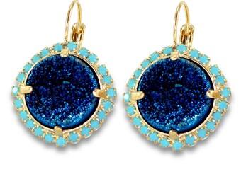 Blue Statement Earrings, Lever Back Dangle Earrings, Gift,Turquoise & Blue Druzy Earrings,Drop Earrings, Pave Earrings, Bezel Sets Earrings.