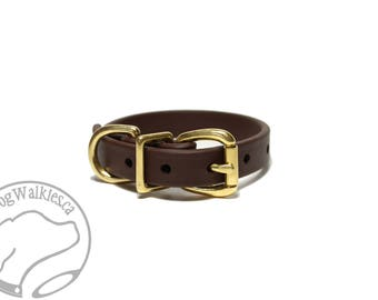 "Dark Chocolate Brown 5/8"" - 16mm - Beta Biothane Dog Collar - Leather Look and Feel - Adjustable Custom - Stainless Stee"