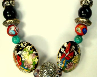 Multicolor Big Bead Necklace, Cloisonne, Silver Glass, Resin, Exciting Dramatic & Recycled Ecochic, OOAK Rachelle Starr
