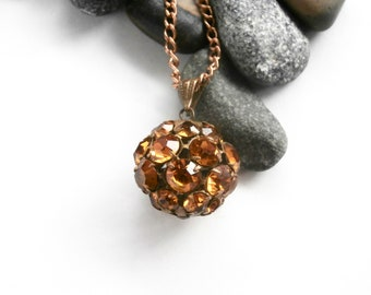 Amber Glass Pendant - Brass Necklace - Repurposed - Pendant Necklace