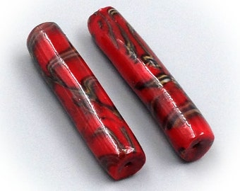 Tube beads for jewelry making, red, polymer clay.