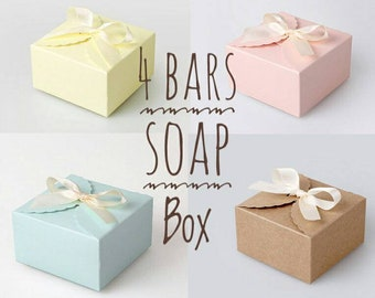 4 Bars Soap box, Soap Box, Custom Available, Handmade Soap, Cold Process Soaps, Artisan Soap, Apple Rose, Essential oils, Women,Men's Gift,