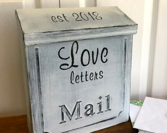 Vintage style Wedding Card Mailbox, Card box with slot