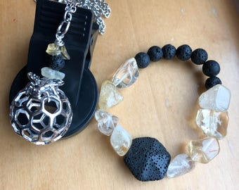 Bee Set, Bee Necklace and Bracelet Set, Bumble Bee Jewelry, Citrine Jewelry, Lava Jewelry, Honey Comb Set, Bee Hive Necklace, Gift for Her,