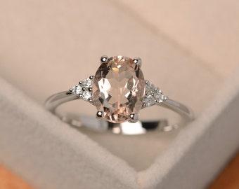 Morganite ring, pink gemstone, morganite engagement rings, oval morganite