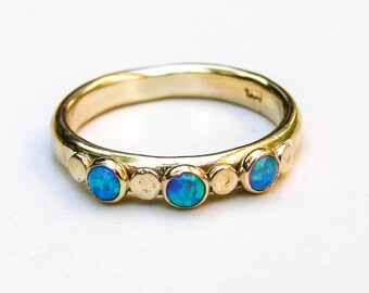 Blue Opal ring ,Fine gold ring,Stackable Ring , wedding bands ,14k gold ring ,Handmade engagement Ring, Anniversary Ring,Multistone Ring