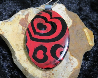 Red Fused Glass Pendant- Red Heart Pendant-Fused Glass Jewelry-Glass Necklace-Fused Glass Necklace-UK Seller-Red Glass Pendant-Heart Pendant