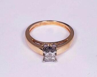 14K Yellow Gold Diamond Ring with 4 Princess Cut Diamonds .50ct. tw., Size 5.25