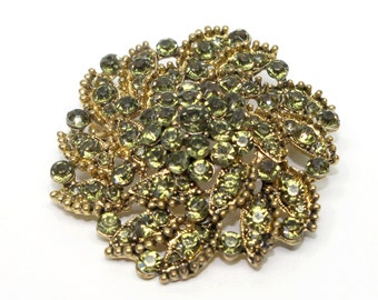 Vintage avocado rhinestones gold tone metal brooch women teens costume bridal partywedding gift mothers